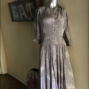 1950s rayon dress long sleeves classy